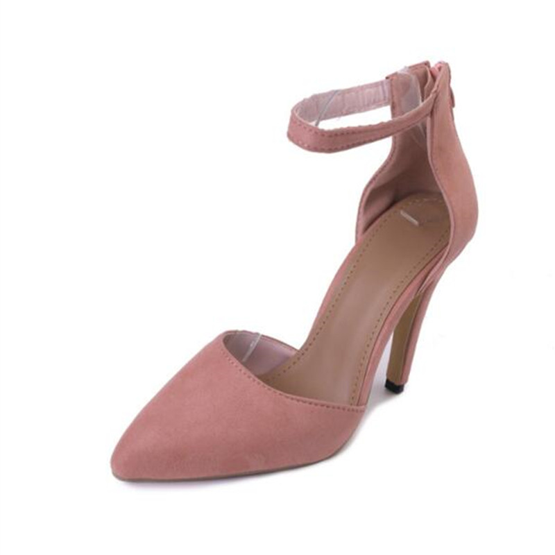 Big Size Women High Heels Shoes Fashion Pointed Toe Ankle Strap Ladies Pumps  High Quality Suede Frosted Thin Women Heels Shoes new 2017 spring summer women shoes pointed toe high quality brand fashion womens flats ladies plus size 41 sweet flock t179