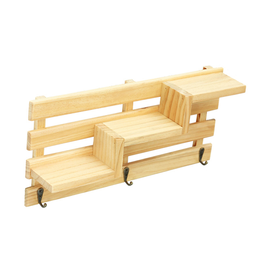 Retro Wooden Wall Shelf with 3 Key Hooks 3 Tier Board Ladder Hanging ...