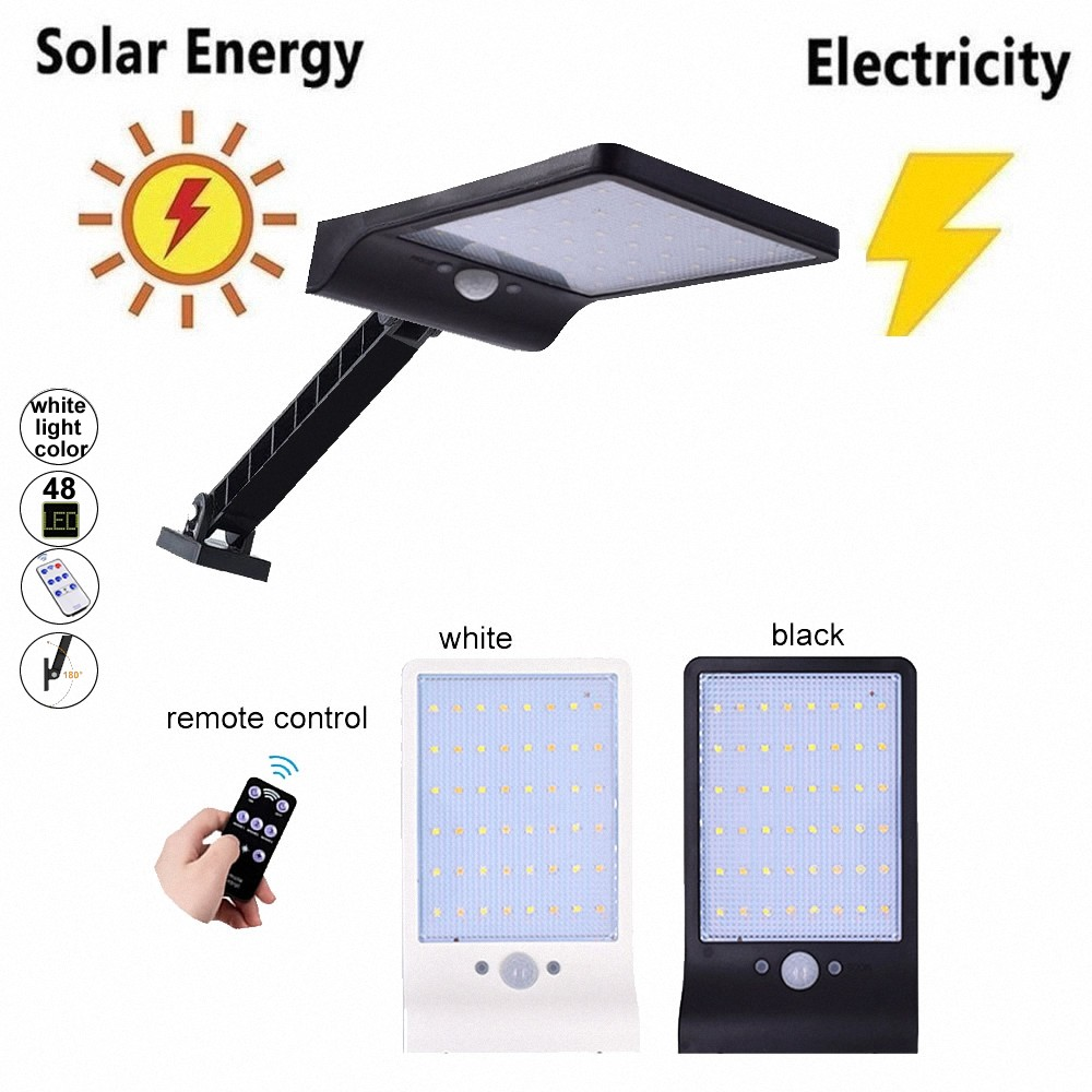 48 Led Solar Powered Wall Light PIR Motion Sensor Street Outdoor IP65 Waterproof Pathway Garden Fence Lamp With 3 Mo White Ligh