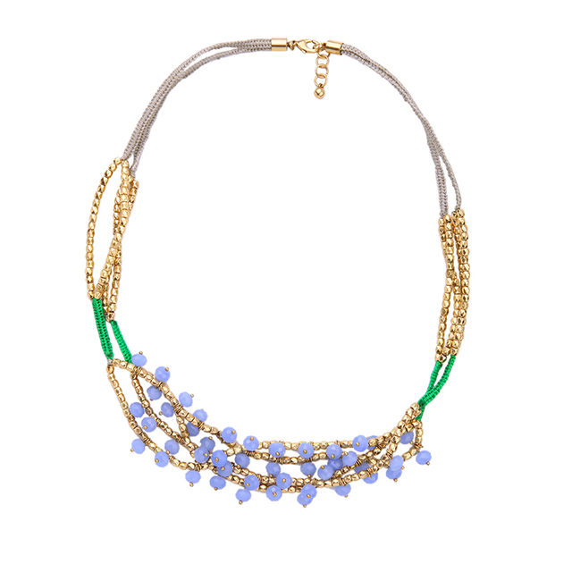 Blue Beads Multi Layers Chunky Necklace Metal Beads Chain Short Costume Jewelry Women Accessories