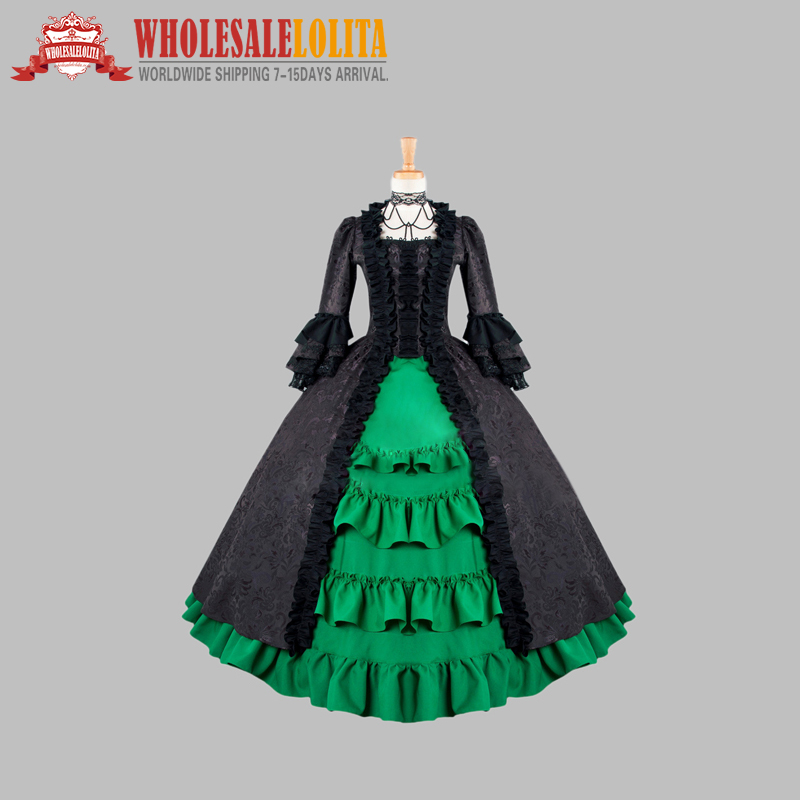 Gothic Black and Green Cotton Brocade Victorian 1870/90s Era Dress Cosplay Dress