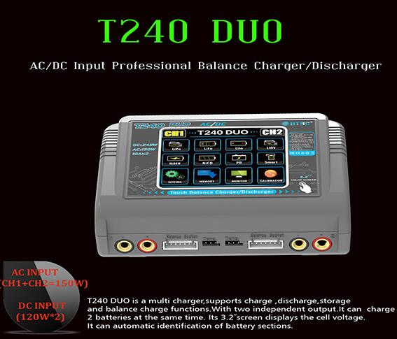 2CH Dual Output RC Lipo/Lilon/LiHV/NiMH/PB Battery AC/DC Input Professional Balance Charger T240 DUO Discharger FPV RC Parts