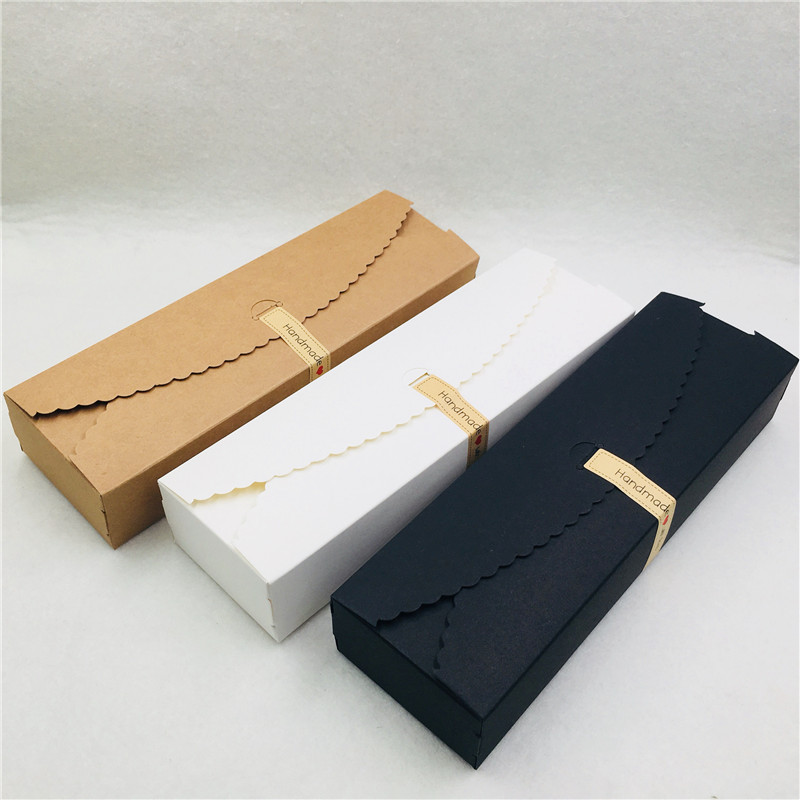 20PCS/Lot 23x7x4cm Paper Cardboard Jewelry Long Strip Box With Free Sticker Handmade With Love For Jewelry Bracelet Anklet Boxes