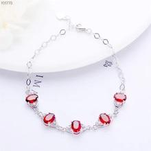 цены gem jewelry manufacturer wholesale trendy 925 sterling silver natural red garnet charm adhustable beaded bracelet for female