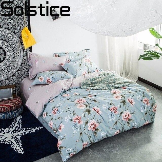 Solstice Textiel 100% Katoenen Beddengoed Landelijk Blauwe Bloemen Stijl 4 stuks Beddengoed Sets Dekbedovertrek Sets Kussensloop Queen King Size