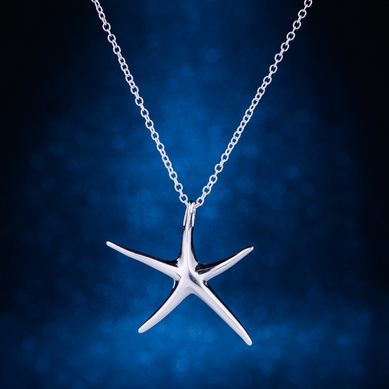 starfish shiny light silver plated Necklace 925 jewelry silver Pandant Fashion Jewelry L ...
