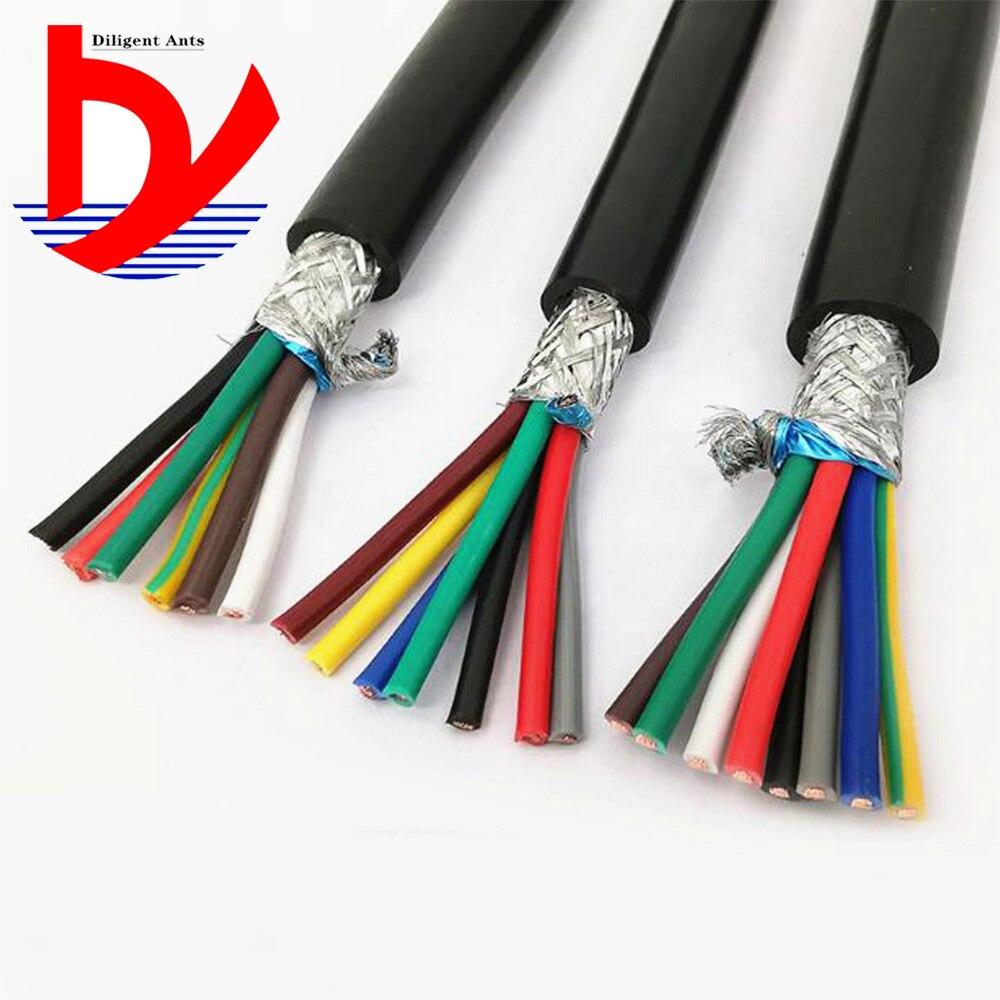 22AWG 0.3mm2 multi-core cabo blindado RVVP 2/3/4/5/6/7/ 8/10/12/14/16/20/24 anti-interferência de sinal de linha de controle do inversor linha