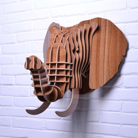 NODIC wooden elephant head for wall hanging decor,decor wood animal head,home decoration,crafts and arts,wood carved objects