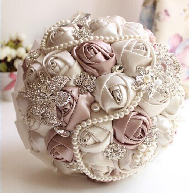 en stock moldeado magnfico crystal rose de marfil de dama de honor ramo de la boda