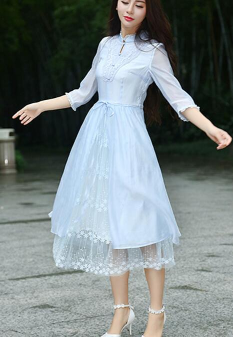 Free Shipping New Arrival High Quality Graceful Stand Collar  Three-quarter Sleeve Jag Lace Chiffon  Dress Sky Blue
