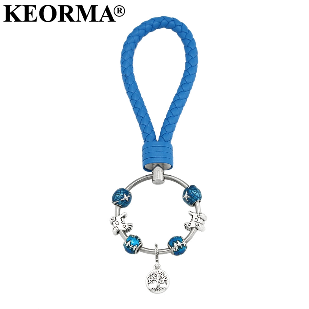 KEORMA Women Men Gifts Key Chain Charm Family Tree Pendant Keychain Blue PU Leather DIY Accessories Keychains YK032