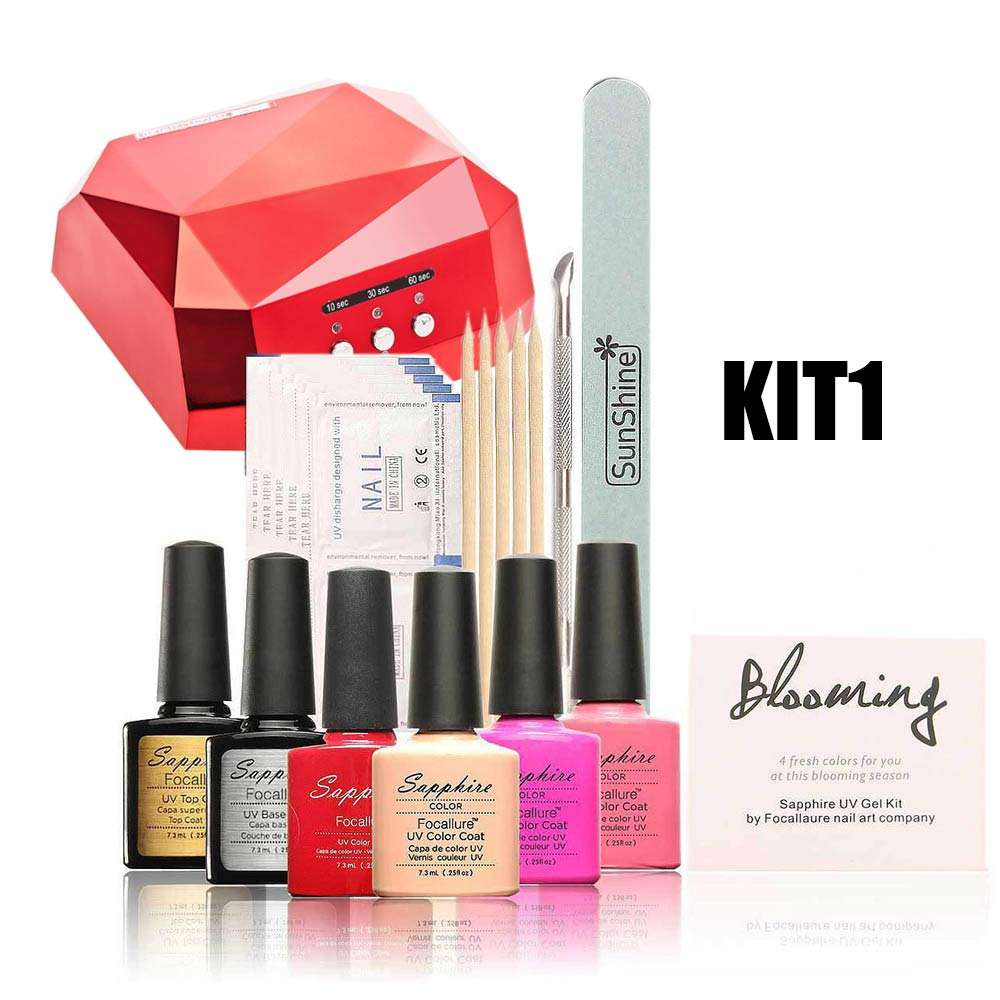 XWTOP Nail Art Manicure Tools 36W <font><b>UV</b></font> Lamp & 4pcs Nail Gel polish & Top <font><b>Coat</b></font> Base <font><b>Coat</b></font> For Nail Art