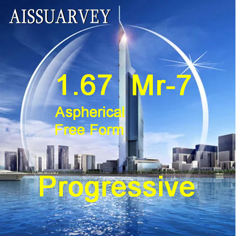 1 67 Index Asph Free Form Progressive Clear Lenses MR 7 Multifocal Bofical Top Quality Thin