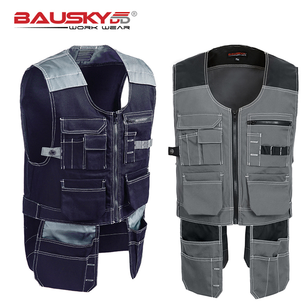 Bauskydd High quality Men outdoor workwear multi pockets work vests tool vests free shipping