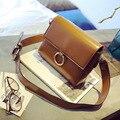 Diseño original de la marca Retro Minimalista Bolsa Pequeña Hombro de Las Mujeres Del Bolso de Las Mujeres Bolsa de Mensajero de Crossbody control del diamante del anillo de cuero de la pu