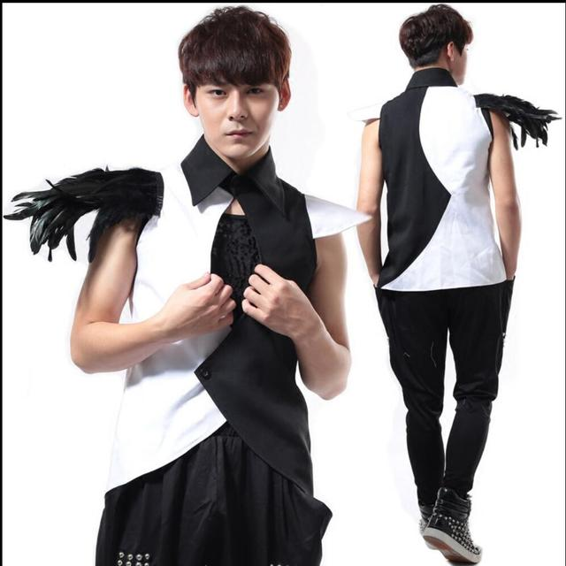 S-4XL Men New style Novelty Black-and-White Patchwork Vest ds costumes DJ jazz dance costume Nightclub Singer DJ Stage clothes