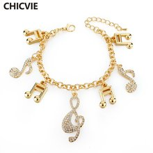 Женский винтажный браслет chicvie золотистый с кристаллами и