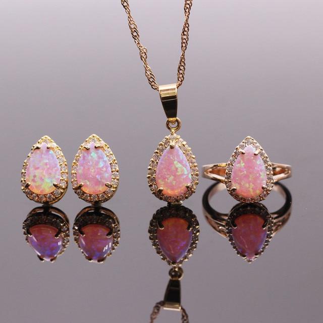 8x12mm pink opal jewelry sets fire opal necklacesringsearrings 8x12mm pink opal jewelry sets fire opal necklacesringsearrings for women synthetic opal aloadofball Gallery