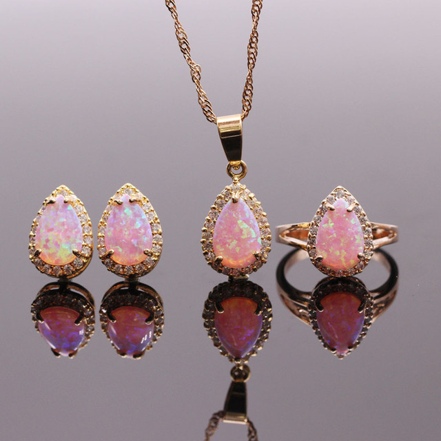 8x12mm pink opal jewelry sets fire opal necklacesringsearrings for 8x12mm pink opal jewelry sets fire opal necklacesringsearrings for women synthetic opal aloadofball Choice Image