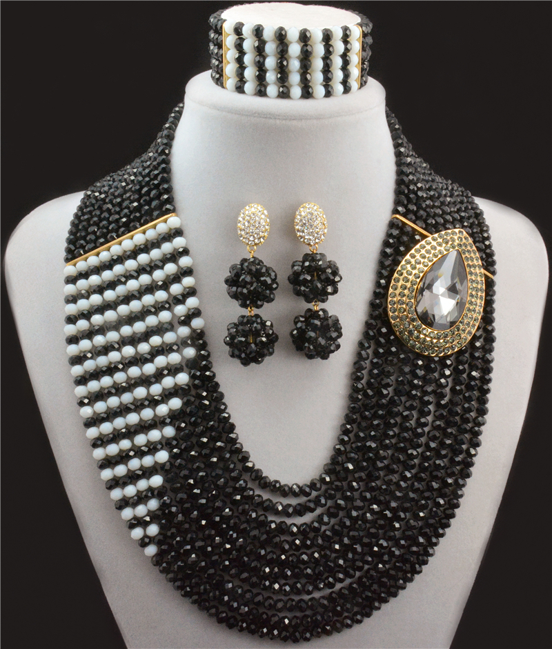 2016 Amazing African Beads Jewelry Set Crystal Beads Necklace Set Nigerian Wedding African Jewelry Set Crystal Jewelry Se ...