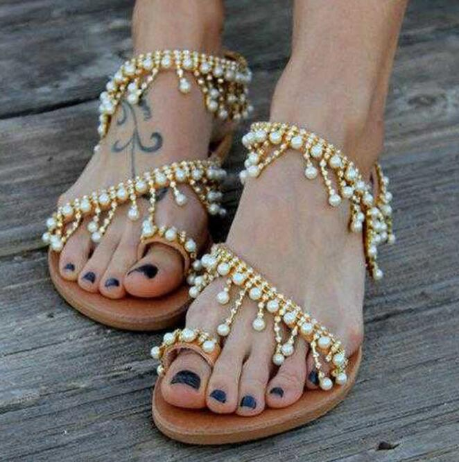 7f9862eb4 Toe Type Flip-flops. Upper Material Artificial Leather Decoration Imitation  pearls. Heel Height Flat Shoes Style Slip-On Style Casual