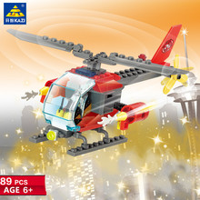 89Pcs City Fire Rescue Helicopter Aircraft Building Blocks Sets Model Bricks DIY Educational Toys for Children цены онлайн
