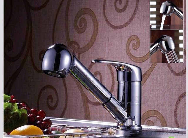 Free shipping Bathroom Brass pull out swivel tap Basin Mixer Tap Spout Faucet brass bibcock  2 hoses