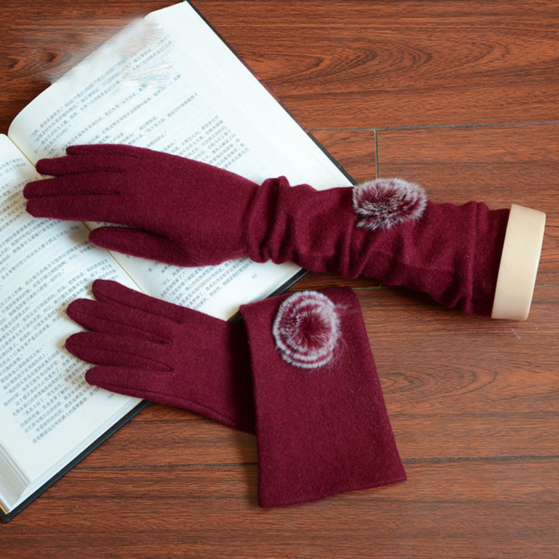 Fashion Elegant Female Wool Knit Embroidery Touch Screen Gloves Winter Women Warm Cashmere Hair Ball Long Full Finger Gloves C41
