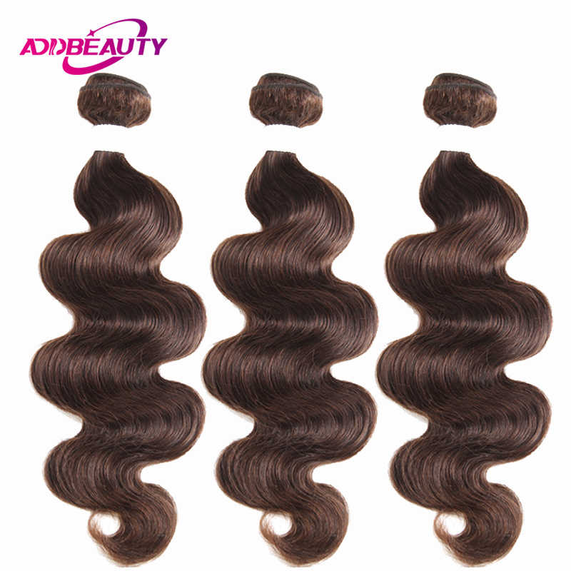 Addbeauty #4 paquetes de Color marrón medio claro onda del cuerpo brasileño cabello humano Remy precoloreado extensión pulgadas doble trama