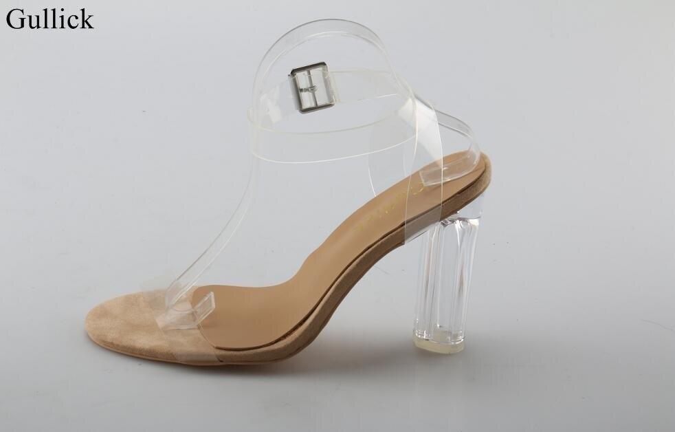 Talons En Chaussures Boucle Sexy Femmes Transparent Sandales Taille E2D9HI
