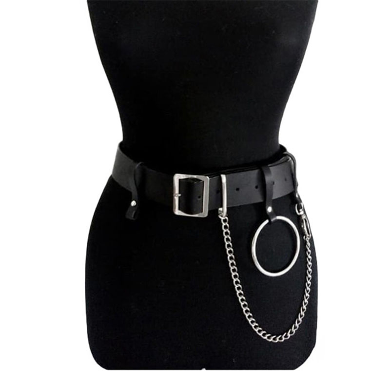 Adjustable Cool Punk Faux Leather Belt Laser Metal Chain Hoop Rings Waist Strap
