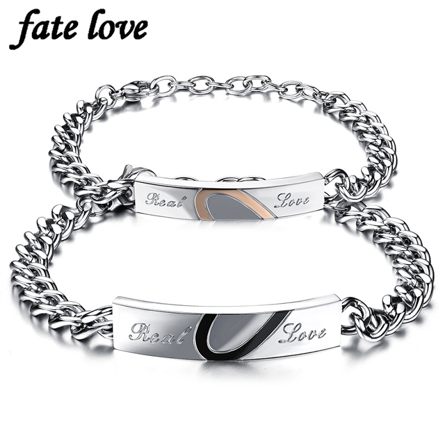 Real Love Bracelets Stainless Steel Jewelry Charms Gift Half Heart Puzzle Bracelet Wedding Jewellery