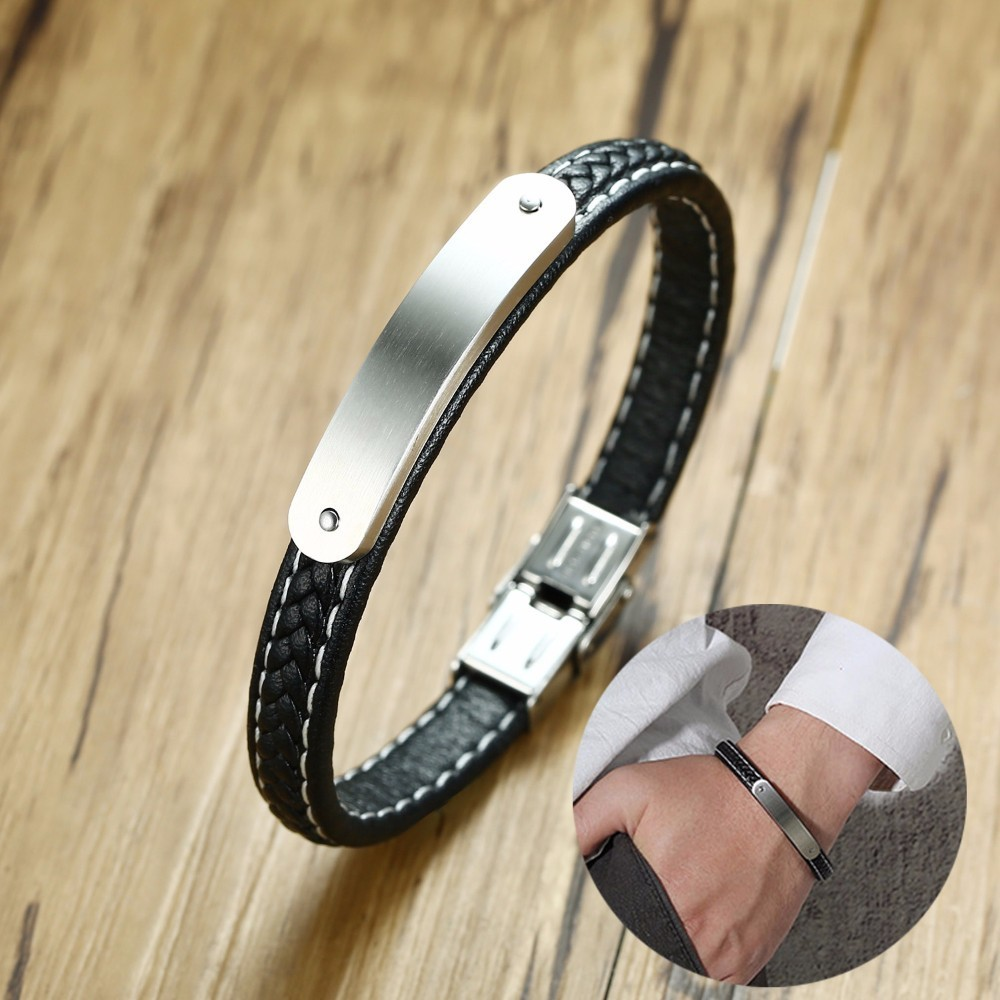 Personalised Mens Steel ID Bar Bracelet and Black Braided Leather Braslet for Men Engraved Message Male Jewelry 8.26