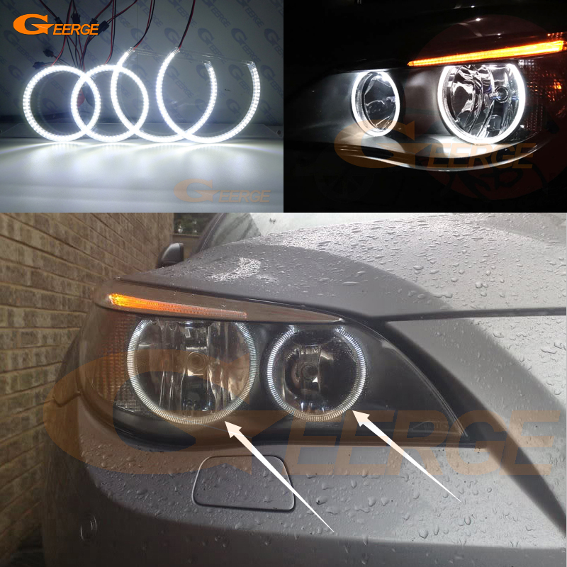 For BMW E60 E61 520i 525I 530I 540I 545I 550I M5 2003-2007 Halogen headlight Excellent DRL Ultra bright smd led angel eyes kit стоимость