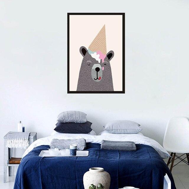 X04 Cute Cartoon Bear Nordic Decorative Painting Children S Bedroom Wall Paintings Minimalist Creative Ilrator
