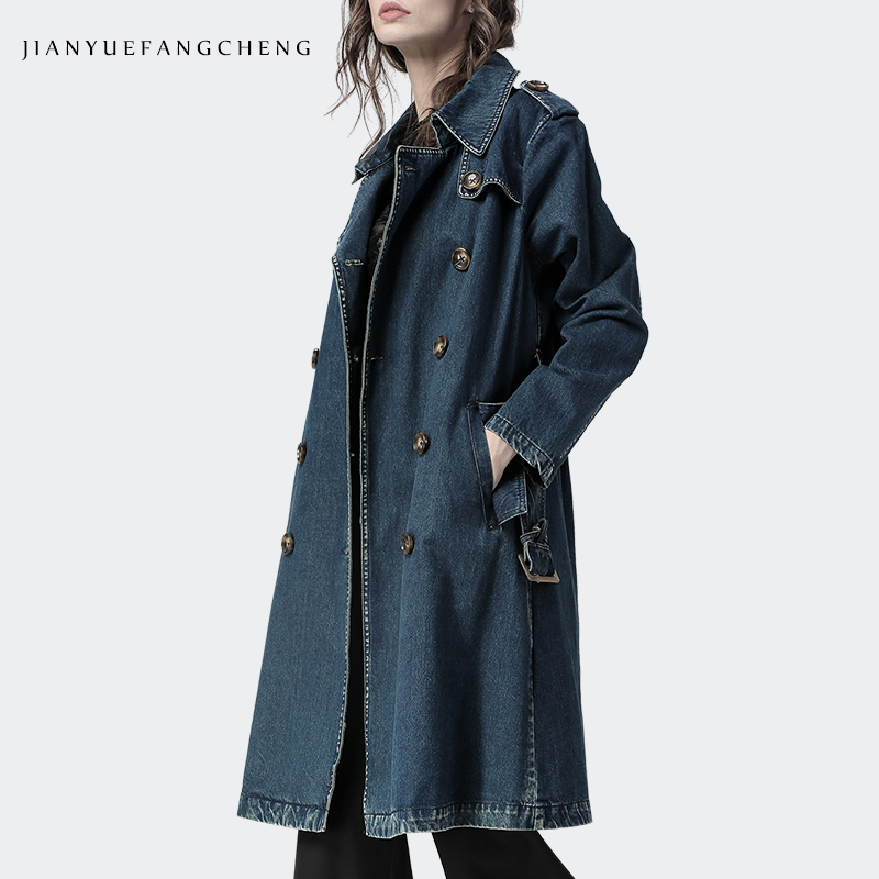 Denim   Trench   Coat Woman Plus Size 2018 Autumn Women Fashion Long Coat Turn-down Blue Ladies Overcoats Slim Double Breasted