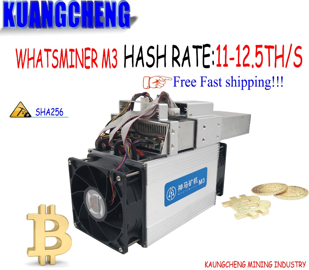 BTC BCH BCC mineur Asic Bitcoin Mineur WhatsMiner M3 mineur (MAX 12.3 T/S) 11.5-12TH/S 0.17 kw/T mieux que Antminer S9 Avec PSu