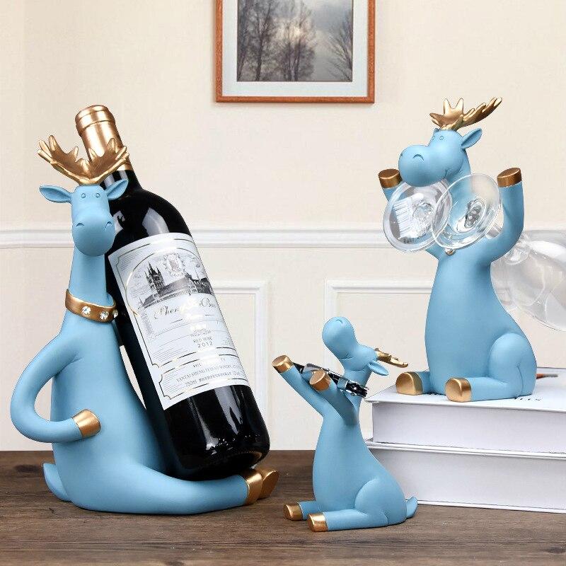 3pcs/set Elk Wine Racks Beer Holder Deer Miniature Figurines Standing Whiskey Red Wine Bottle Holder Cabinet for Wine Home Decor
