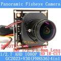2MP 1080 P AHD 4em1 Coaxial 360 Graus Fisheye Panorâmica 2000TVL HD Módulo de Câmera de Vigilância CCTV 1.8mm Lente ODS/Cabo BNC