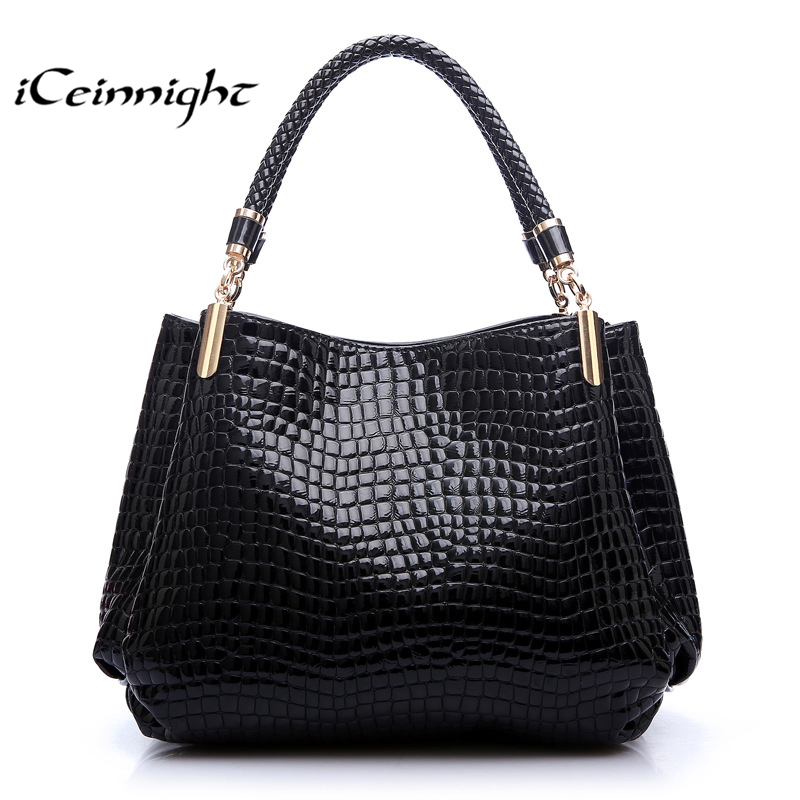 iCeinnight Women Handbag 2018 New Fashion Royal Blue Ruby Red handbags women bags crocodile Pattern PU Leather Shoulder notebook