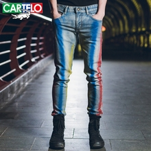 CARTELO  summer new men's trousers Slim small straight long pants personality fashion men's non-mainstream jeans