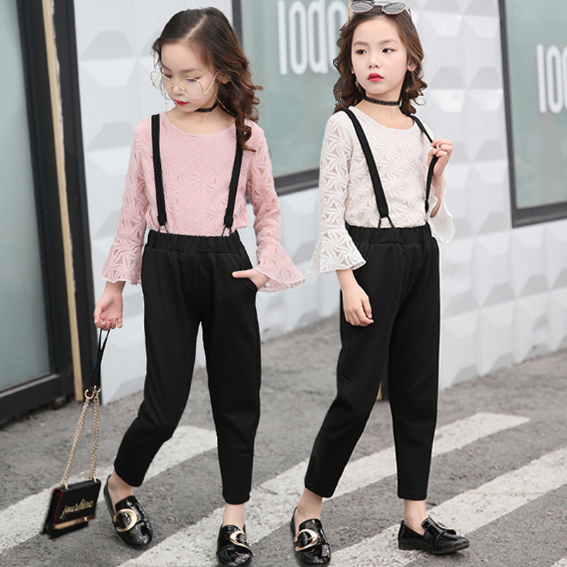 Baby Girls Clothing Set 4 6 8 10 12 Years Long Sleeve Lace Top Black Overalls Sets Spring Kids Girls Teens Clothes Suit 7 5L16 autumn boys gentleman clothing sets baby boy clothes suit shirts overalls jeans kids jumpsuit 2pcs set for 2 3 4 5 6 7 years
