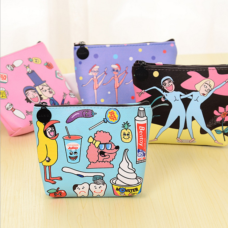 Hot Women Cartoon Design Cute Coin Purse Top Leather Character Small Wallet Girls Change Pocket Pouch Hasp Keys Bag  Opening New стоимость