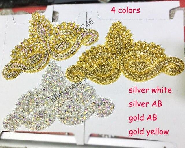 2 pz lotto oro ab oro giallo argento ab rhinestone di cristallo