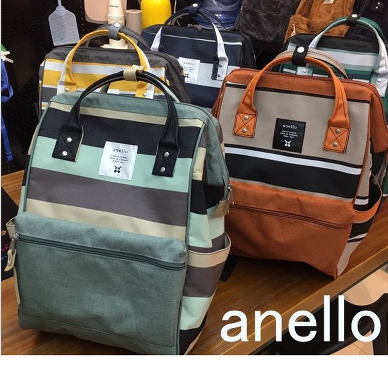 Newest Anello Ring Striped Backpack Canvas School Printing Ring Bag Travel Backpack Women's  Male  Backpack Youth Bag