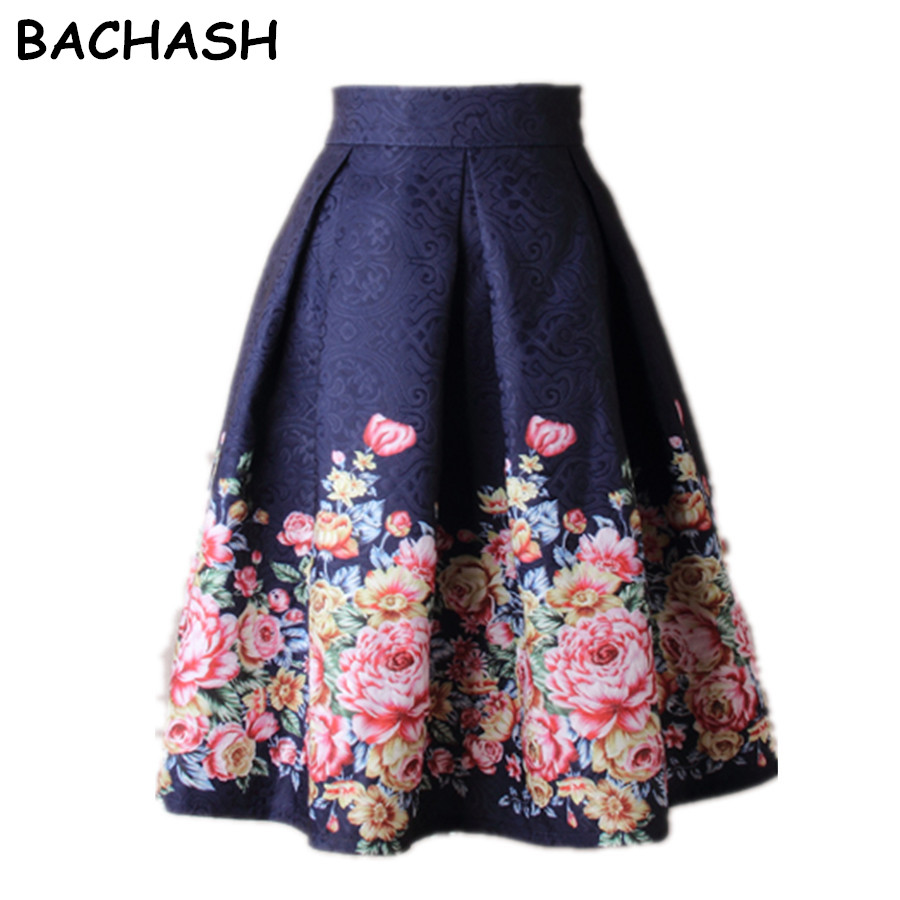 Bachash 2020 Blue Summer Women <font><b>Skirt</b></font> Vintage Peach Blossom Floral Print High Waist <font><b>Ball</b></font> Gown Pleated Midi Skater <font><b>Skirts</b></font> image