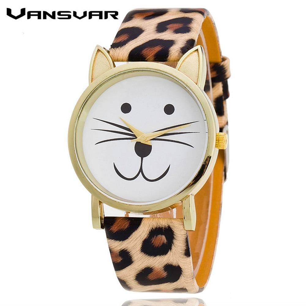 VANSVAR Fashion Leather Strap Golden Cat Watch Women Dress Watches Wristwatches Reloj Mujer Relogio Feminino Drop Shipping 1149 relogio feminino dourado reloj mujer