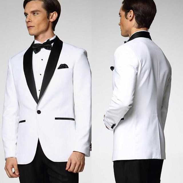 High Quality One Button White Groom Tuxedos Groomsmen Mens Wedding ...