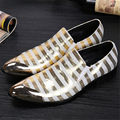 Business Oxfords Party Shoes Red White Stripe Men Ankle Boots Scarpe Uomo Iron Pointed Toe Wedding Dress Shoes Men Leather Flats