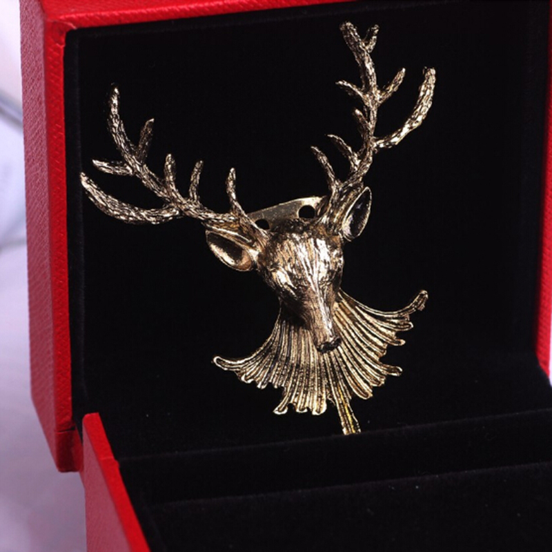 Jewelry Sets & More Jewelry & Accessories Just Personality Personality Fashion New Design Casual Funny Luxury Deer Head Pin Lapel Jewelry 2018 Chic Large Assortment